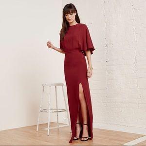Reformation Escala Maxi Cape Side Slit Dress